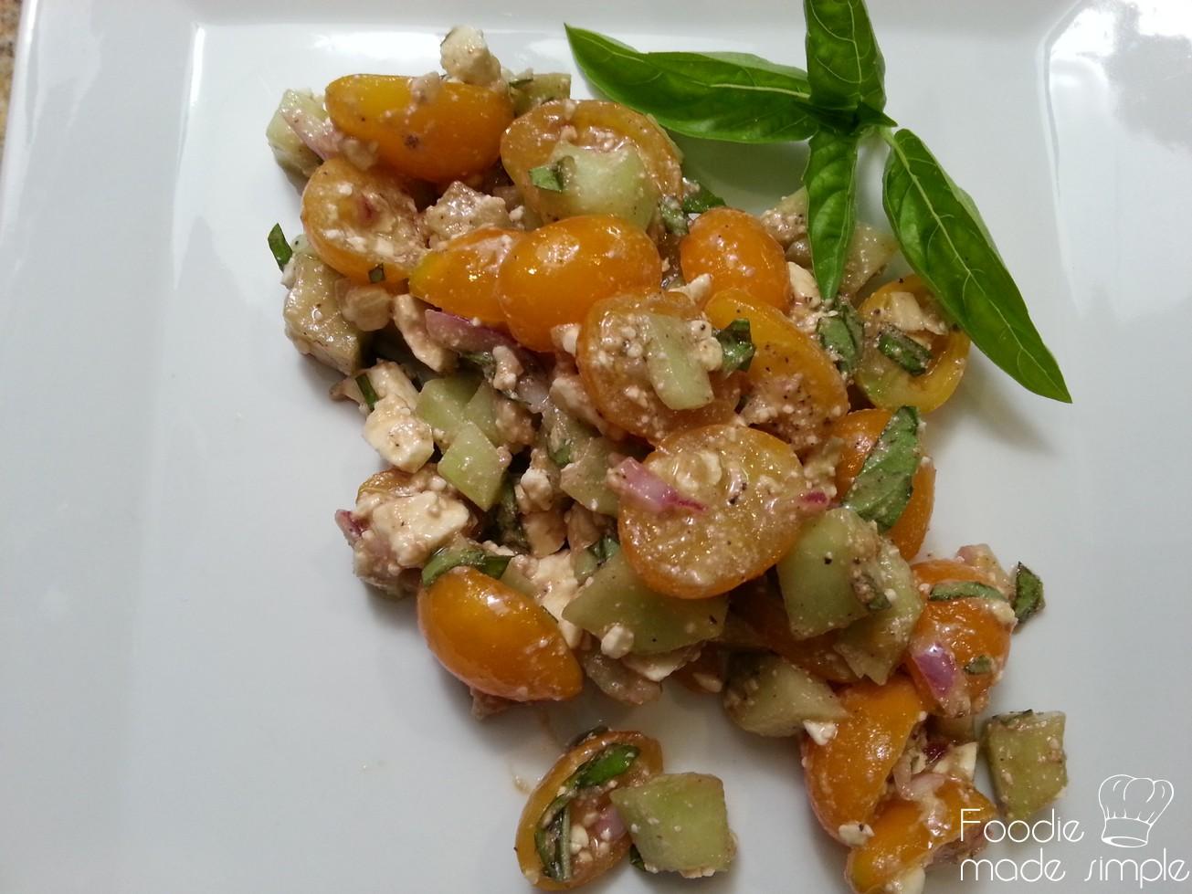 Cucumber Avocado Tomato & Feta Salad -