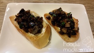 Mushroom Bruschetta with Goat Cheese and White Truffle Oil 08