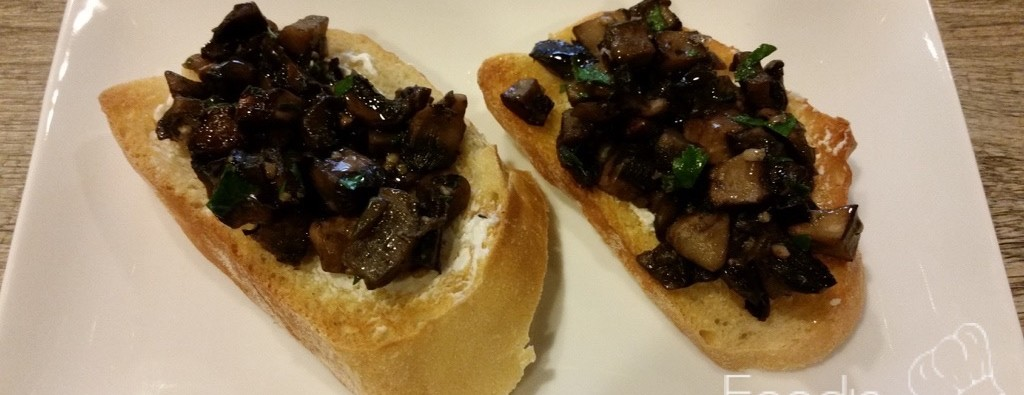 Mushroom Bruschetta with Goat Cheese and White Truffle Oil Feature