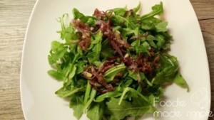 Arugula Salad with Caramelized Onion, Bacon, Goat Cheese, and Fig-Balsamic Vinaigrette 04