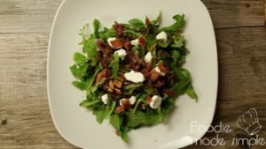 Arugula Salad with Caramelized Onion, Bacon, Goat Cheese, and Fig-Balsamic Vinaigrette 08