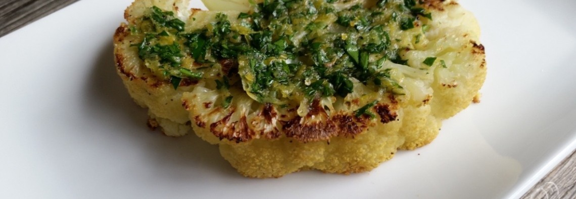 21 Day Fix Roasted Cauliflower Steaks with Fresh Gremolata 21 Day Fix Recipe