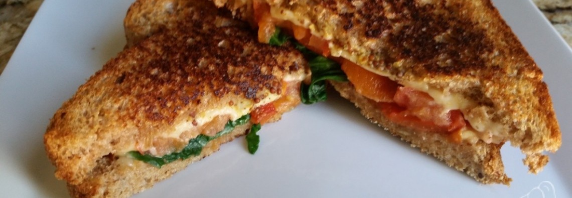 21 Day Fix Smoked Gouda Grilled Cheese with Spinach and Roasted Red Peppers 21 Day Fix Recipe