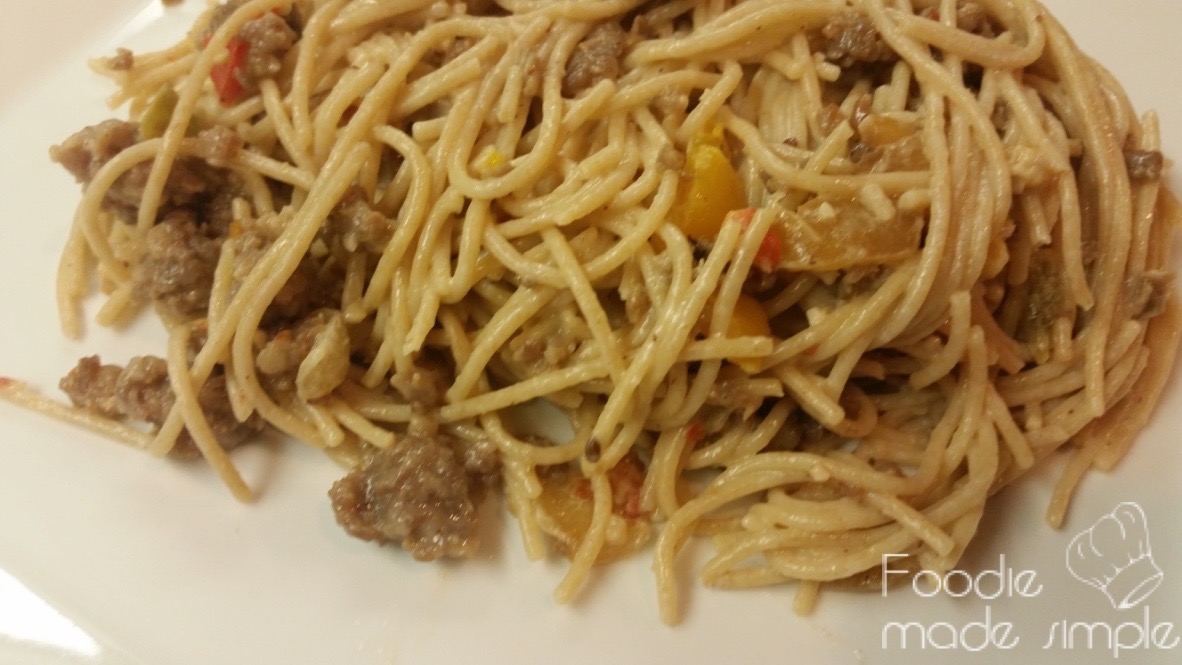 21 Day Fix Whole Grain Spaghetti With Hot Italian Sausage Goat Cheese Peppers And Onions