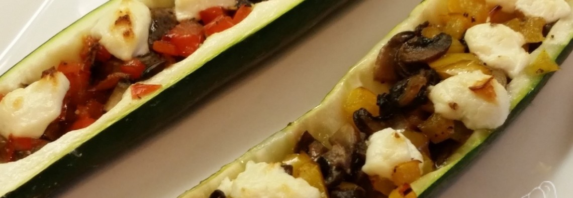 21 Day Fix Zucchini Mushroom Pepper Boats with Goat Cheese 21 Day Fix Recipe