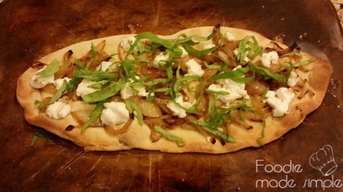 Flatbreads with Goat Cheese, Caramelized Onions, and Basil -