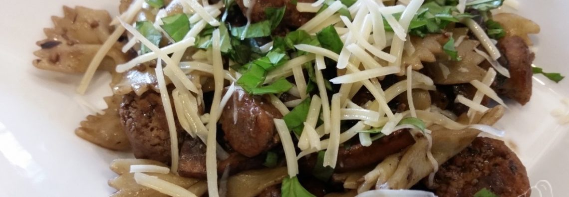 Portobello Mushroom and Turkey Sausage Pasta with Basil