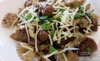 Portobello Mushroom and Turkey Sausage Pasta with Basil