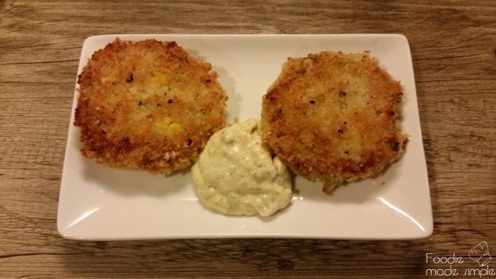 Fish and Corn Cakes with Tartar Sauce