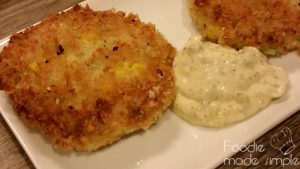 Fish and Corn Cakes with Tartar Sauce -