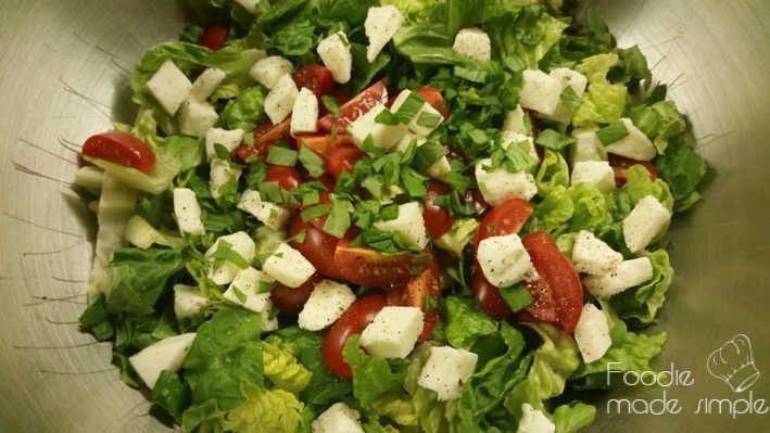 Romaine Caprese Salad with Basil Vinaigrette -
