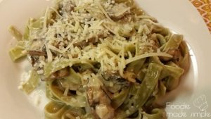 Spinach Tagliatelle Pasta with Portobello Sherry Cream Sauce