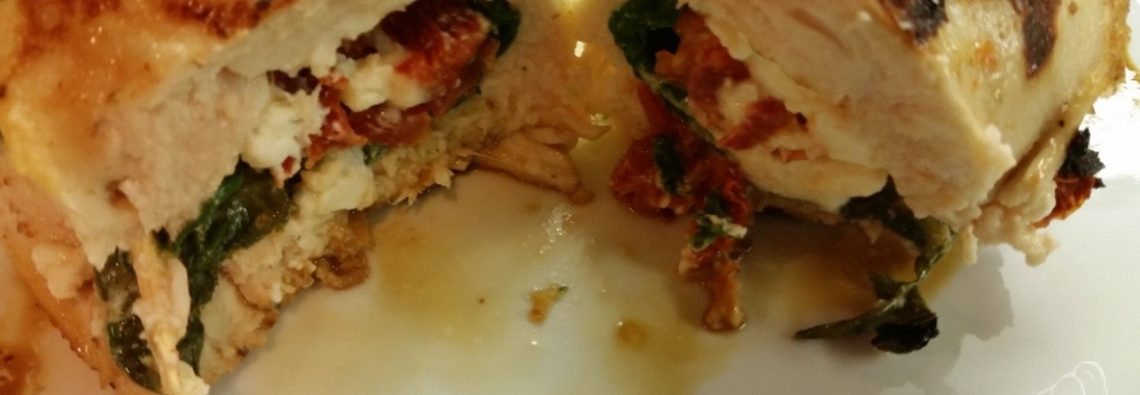 Sun Dried Tomato, Spinach and Cheese Stuffed Chicken