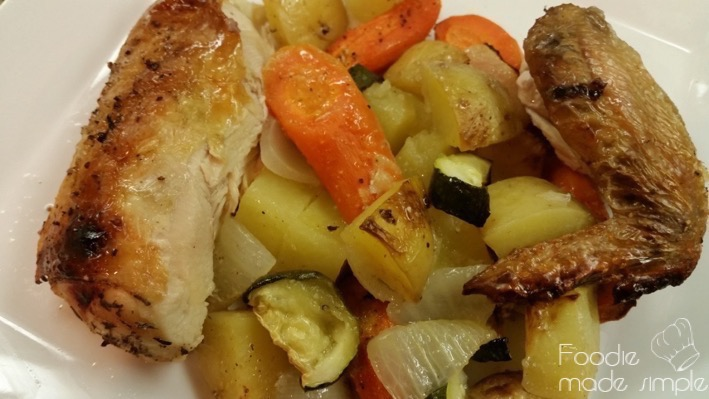 Spatchcock Brined Chicken with Roast Carrots and Potatoes